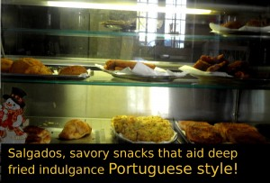Salgados, savory deep fried snacks that are typically Portuguese