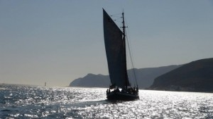 Dolphin watching traditional sail boat, Troia,  Sado estuary